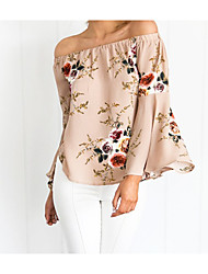 cheap -Women's Polyester Blouse - Floral, Layered Boat Neck