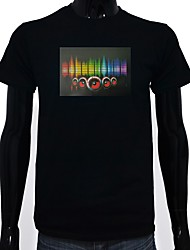 cheap -LED T-shirts Glow Lighting LED Lighting Pure Cotton LED Casual 2 AAA Batteries