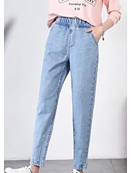 baratos -Mulheres Jeans Calças - Sólido Bordado