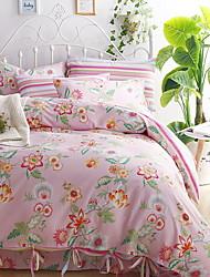 Poplun Cover Sets Cvjetni print 4 komada Poly/Cotton Jacquard Poly/Cotton 1pc duvet Cover 2kom Shams 1pc Stan list