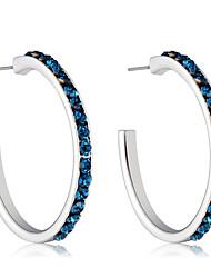 cheap -Women's Cubic Zirconia Zircon / Silver Plated Hoop Earrings - Formal / Elegant / Fashion Dark Blue Circle Earrings For Party / Evening /