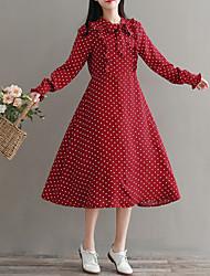 cheap -Women's Cute Street chic Petal Sleeve Chiffon Swing Dress - Polka Dot, Bow Ruffle Patchwork Lace up