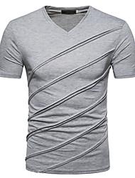 cheap -Men's Slim T-shirt - Solid Colored V Neck