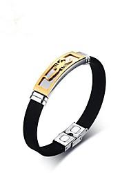 Недорогие -Муж. Браслет цельное кольцо - нержавеющий Животный принт Браслеты Черный Назначение Подарок / Повседневные