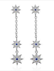 cheap -Women's Cubic Zirconia Long Stud Earrings / Hoop Earrings - Zircon, Silver Plated, Gold Plated Korean, Sweet, Fashion Silver / Rose Gold For Wedding / Daily