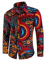 Недорогие -Муж. С принтом Большие размеры - Рубашка Хлопок Шинуазери (китайский стиль) Геометрический принт