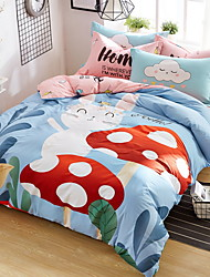 cheap -Duvet Cover Sets Cartoon 4 Piece Poly/Cotton 100% Cotton Reactive Print Poly/Cotton 100% Cotton 1pc Duvet Cover 2pcs Shams 1pc Flat Sheet