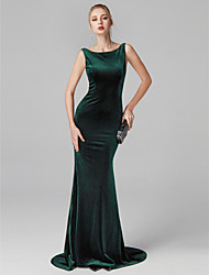 cheap -Mermaid / Trumpet Bateau Neck Sweep / Brush Train Velvet Cocktail Party / Homecoming / Prom / Black Tie Gala / Holiday Dress with Pleats