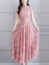 baratos -Mulheres Tamanhos Grandes Delgado Bainha / balanço Vestido - Renda, Sólido Colarinho Chinês Longo / Verão / Rendas