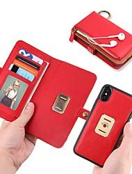 Недорогие -Кейс для Назначение Apple iPhone X Кошелек / Бумажник для карт / со стендом Чехол Однотонный Твердый Кожа PU