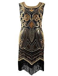 abordables -Gatsby le magnifique Gatsby Années 20 Costume Femme Bandeau Garçonne Bleu Noir/Rouge Or + Noir Bleu/Noir Rose Vintage Cosplay Polyester