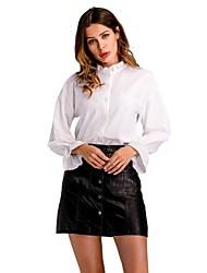 abordables -Mujer Trabajo Volante - Camisa, Escote Chino Un Color Manga de la llamarada