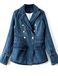 baratos -Mulheres Jaqueta jeans Vintage - Sólido Pregueado