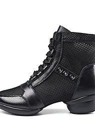 Недорогие -Жен. Танцевальные сапожки Наппа Leather / Тюль С раздельной подошвой На низком каблуке Персонализируемая Танцевальная обувь Черный
