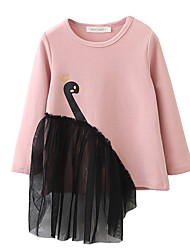 cheap -Girl's Daily Holiday Solid Colored Print Jacquard Dress, Cotton Spring Summer Long Sleeves Simple Cute Basic Black Blushing Pink