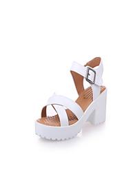abordables -Femme Chaussures Polyuréthane Printemps Eté bottes slouch Confort Sandales Marche Talon Plat Bout pointu pour Décontracté Blanc Noir Beige