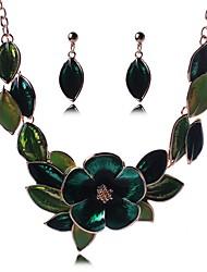 Недорогие -Жен. Комплект ювелирных изделий - В форме листа, Цветы Дамы, Мода Включают Серьги-слезки Ожерелья с подвесками Зеленый Назначение День рождения Официальные