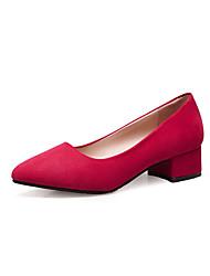 preiswerte -Damen Schuhe Kaschmir Herbst Pumps High Heels Blockabsatz Spitze Zehe Schleife für Schwarz / Grau / Rot