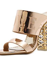 preiswerte -Damen Schuhe PU Frühling Sommer Pumps Komfort Sandalen Blockabsatz für Gold Schwarz Champagner