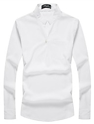 cheap -Men's Cotton / Polyester Slim Shirt - Solid Colored Standing Collar / Please choose one size larger according to your normal size.
