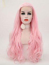 abordables -Perruque Lace Front Synthétique Femme Ondulation Naturelle Rose Cheveux Synthétiques Ligne de Cheveux Naturelle Rose Perruque Long Lace Frontale Rose