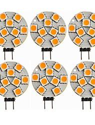 Недорогие -SENCART 6шт 1.5W 270lm G4 Двухштырьковые LED лампы T 9 Светодиодные бусины SMD 5050 Декоративная Тёплый белый 12V / CE