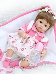 abordables -NPK DOLL Muñecas reborn Bebé 16 pulgada Silicona / Vinilo - Pestañas aplicadas a mano, Clavos inclinados y sellados, Cabeza de disquete Kid de Unisex Regalo / Tono de piel natural