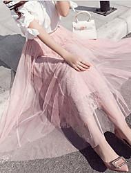 Žene A kroj Suknje - Jednobojni, Čipka Kolaž