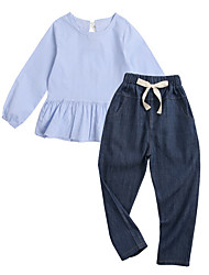 cheap -Girls' Daily Solid Colored Clothing Set, Polyester Spring Long Sleeves Cute Light Blue