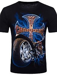 abordables -Tee-shirt Homme Coton Soirée Punk & Gothique Chic de Rue Col Arrondi