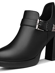 preiswerte -Damen Schuhe Künstliche Mikrofaser Polyurethan Herbst Winter Pumps Komfort High Heels Blockabsatz für Normal Party & Festivität Schwarz