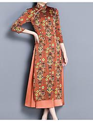 abordables -Femme Chinoiserie Manche Gigot Tunique Robe - Imprimé, Géométrique Mao Midi / Géométrique / Mao / Printemps / Manche Gigot / Chinoiserie