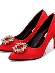 preiswerte -Damen Schuhe Seide Frühling Herbst Pumps High Heels Stöckelabsatz Spitze Zehe Strass für Hochzeit Party & Festivität Schwarz Rot