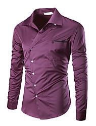 Homens Camisa Social Negócio Sólido