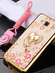 cheap -Case For Huawei P9 Shockproof Rhinestone Ring Holder Back Cover Flower Soft Silicone for Huawei P9