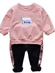 cheap -Boys' Daily Geometric Clothing Set, Polyester Spring Long Sleeves Simple Blushing Pink Yellow