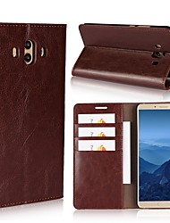 cheap -Case For Huawei Mate 10 pro Mate 10 lite Card Holder Wallet with Stand Flip Full Body Cases Solid Color Hard Genuine Leather for Mate 10