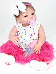 cheap -NPK DOLL Reborn Doll Baby Girl 22 inch Full Body Silicone / Silicone / Vinyl - Hand Applied Eyelashes, Tipped and Sealed Nails, Floppy Head Kid's Unisex Gift / Natural Skin Tone