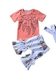 billige -Pige Tøjsæt Daglig I-byen-tøj Blomstret Geometrisk, Modal Forår Sommer Kortærmet Sødt Aktiv Orange