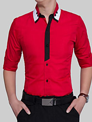 cheap -Men's Active Plus Size Cotton / Polyester Slim Shirt - Color Block / Please choose one size larger according to your normal size.