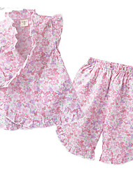 cheap -Toddler Girls' Cut Edge Floral Print Sleeveless Cotton Clothing Set