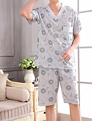 abordables -V Profond Costumes Pyjamas Homme Fleur