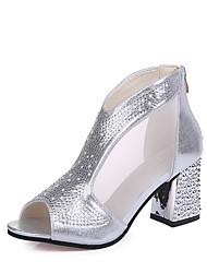 baratos -Mulheres Sapatos Borracha Primavera Conforto Saltos Salto Robusto Dourado / Prata