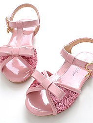 cheap -Girls' Shoes Patent Leather Summer Slingback / Flower Girl Shoes Sandals Magic Tape for Pink / Khaki