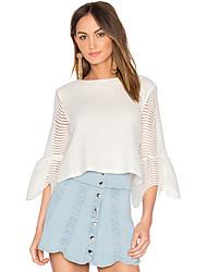 cheap -Women's Flare Sleeve T-shirt - Solid, Mesh