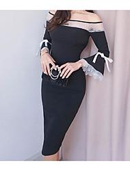 abordables -Femme Mince Moulante Robe - Basique, Couleur Pleine Taille haute Col en V