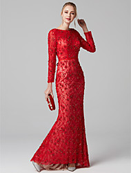 cheap -Mermaid / Trumpet Boat Neck Sweep / Brush Train All Over Beaded Lace Cocktail Party / Prom / Formal Evening / Black Tie Gala / Holiday