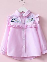 preiswerte -Mädchen Hemd Alltag Blumen Polyester Frühling Langarm Einfach Rosa Leicht Blau