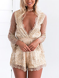 cheap -Women's Romper - Solid Colored, Lace Sequins Flower