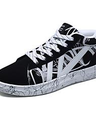 baratos -Homens sapatos Tecido Inverno Outono Conforto Tênis Cadarço para Casual Preto Branco/Preto Preto/Vermelho